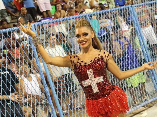 Ana Paula Evangelista em ensaio técnico da Unidos da Tijuca na Marquês de Sapucaí, no Centro do Rio (Foto: Anderson Borde/ Ag. News)