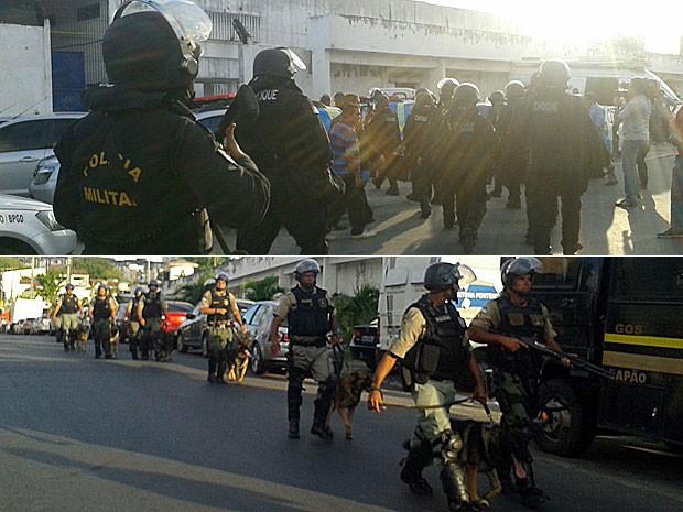 Soldados do Batalhão de Choque e da PM chegam para reforçar segurança no Complexo do Curado (Foto: Gabriela Lisboa / TV Globo)