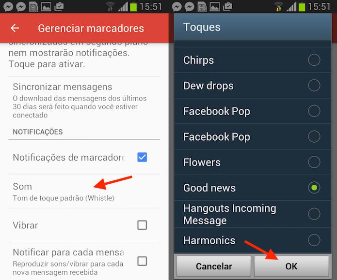 Ação para mudar o som de notificações do Gmail para Android (Foto: Reprodução/Marvin Costa)