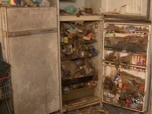 Lixo estava até dentro de uma geladeira em casa na Vila Assis (Foto: Reprodução/TV Tem)