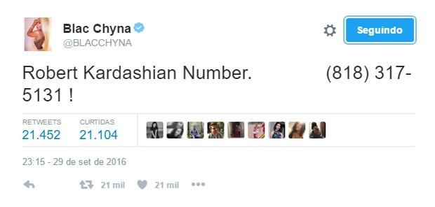 Blac Chyna divulga suposto celular de Rob Kardashian (Foto: Reprodução/Twitter)