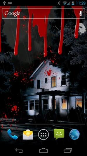 A interface do Halloween Live Wallpaper foi totalmente inspirada no clássico cult de horror e há duas possibilidades de fundo de tela: uma com o Michael ...