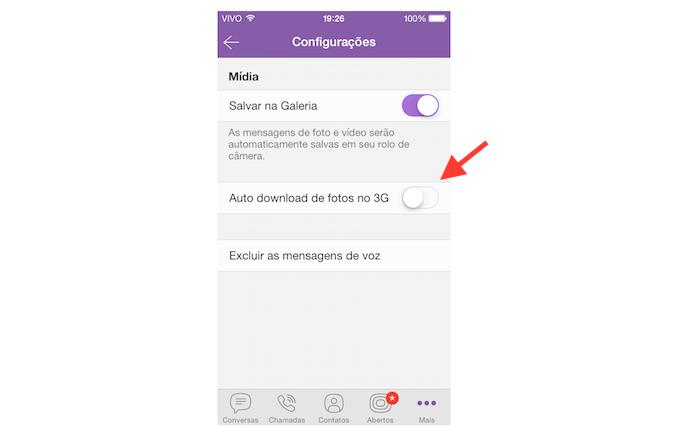 Desativando o download automático de fotos na rede 3G no Viber (Foto: Reprodução/Marvin Costa)