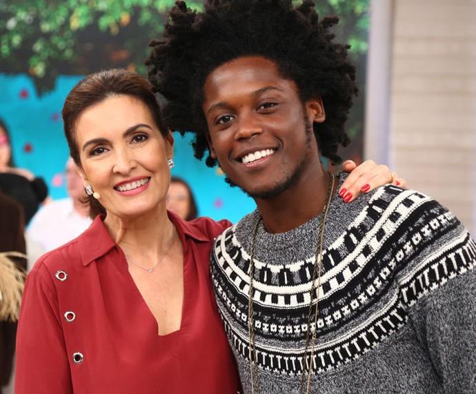 Fátima com o ator Maicon Rodrigues  (Foto: Fabiano Battaglin/Gshow)