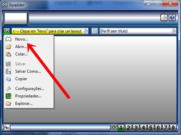 No Xpadder clique em Novo para criar um novo perfil para o seu controle (Foto: Reprodução / Dario Coutinho)