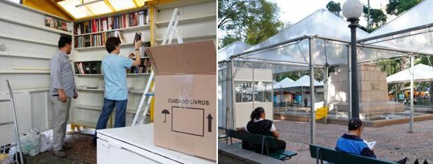 Estrutura da Feira do Livro está pronta para receber os visitantes (Foto: Montagem sobre fotos/Francielle Caetano/PMPA)