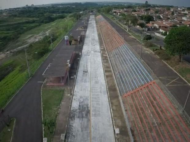 Vista aérea do Sambódromo do Geisel (Foto: Reprodução/TV TEM)