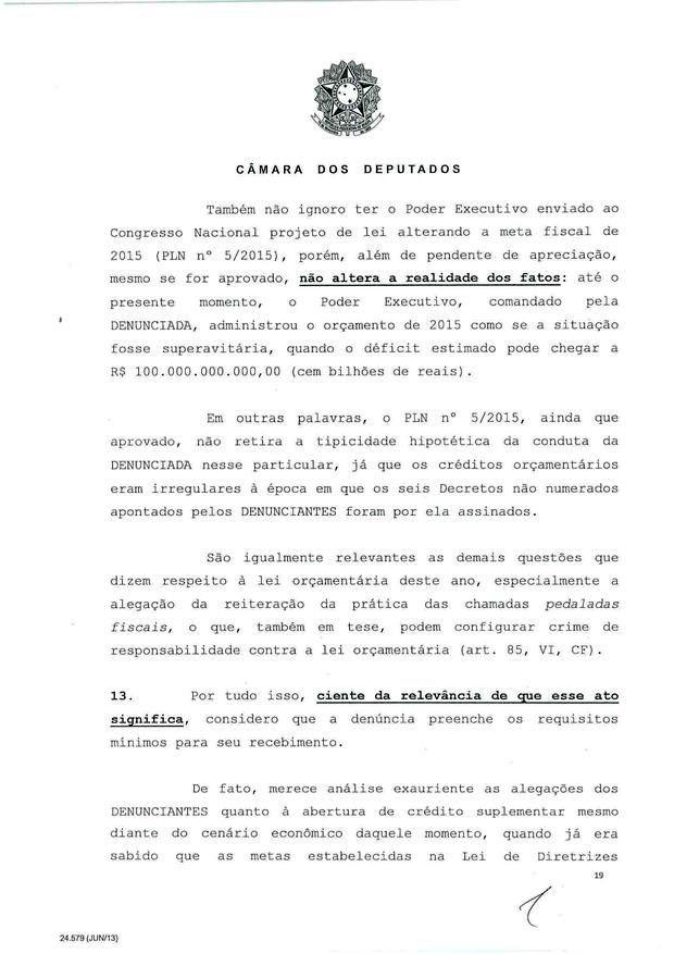 19 - Leia íntegra da decisão de Cunha que abriu processo de impeachment (Foto: Reprodução)