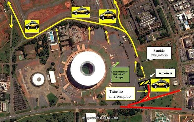 Mapa com esquema de trânsito nas imediações do Estádio Mané Garrincha, para o jogo entre Flamengo e Vasco (Foto: Detran/Reprodução)