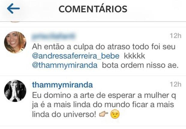 Thammy Miranda comenta na foto de Andressa Ferreira (Foto: Reprodução/ Instagram)
