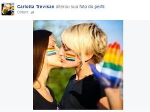 Imagem publicada por italiana no Facebook fez sua conta ser suspensa (Foto: Arquivo Pessoal/Carlotta Trevisan/Facebook)