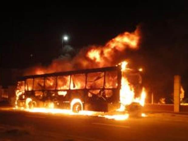 Grupo ateou fogo em ônibus na via Anchieta, em Cubatão (Foto: Moiseis Gomes/Arquivo Pessoal)