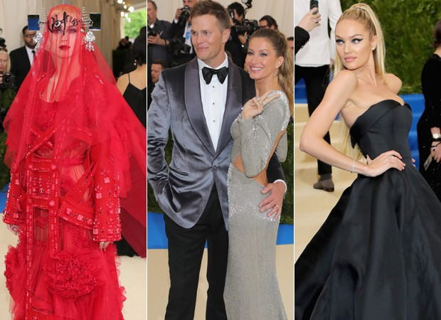 Katy Perry, Tom Brady com Gisele Bundchen e Candice Swanepoel (Foto: Getty Images)
