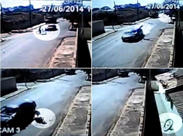 Ciclista foi arremessado a vários metros; bicicleta que ele usava 'decolou', atingiu o telhado de uma casa e ficou despedaçada bauru (Foto: Reprodução/TEM Você)