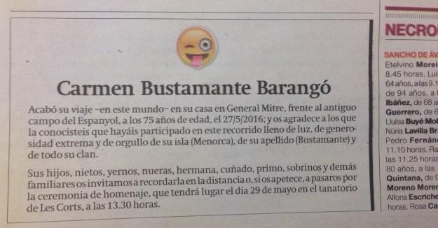 Emoji para anúncio da morte de idosa espanhola