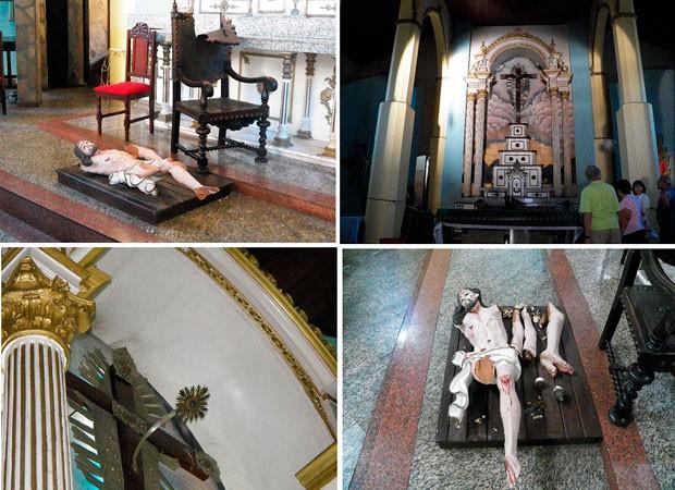 Homem quebra imagem secular em Senhor do Bonfim (Foto: Netto Maravilha/ Maravilha Notícias)