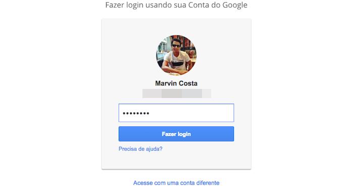 Realizando login em uma conta do Google para visualizar aplicativos e serviços conectados (Foto: Reprodução/Marvin Costa)