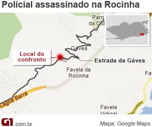 mapa_rocinha_policial_morte_300 (Foto: Editoria de Arte / G1)