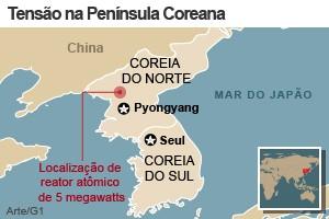 mapa península coreana (Foto: Arte/G1)