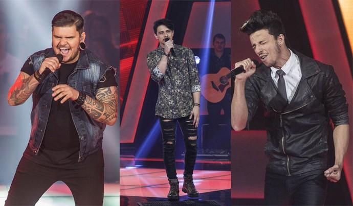 Renan Zonta, Dan Costa e Rafah usaram looks com a pegada Rocker no The Voice Brasil (Foto: Artur Meninea e Raphael Dias )