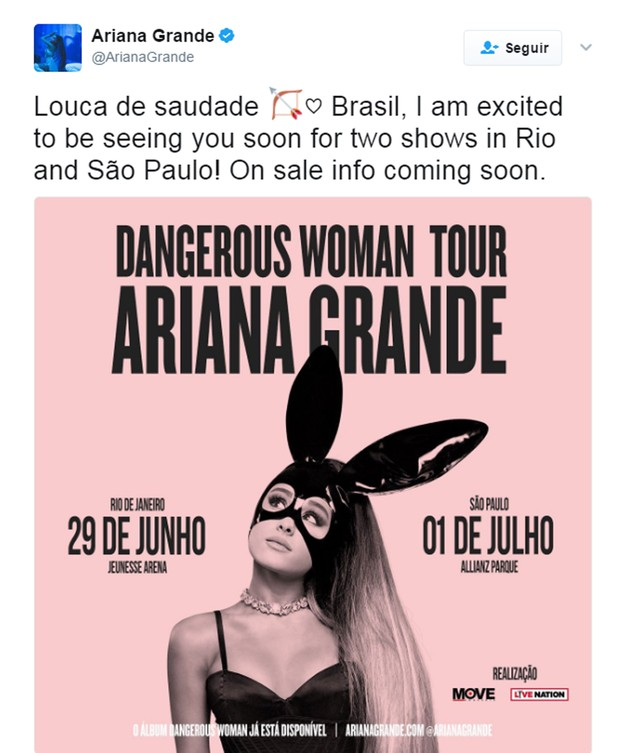 Ariana Grande confirma shows no Brasil  (Foto: Reprodução)