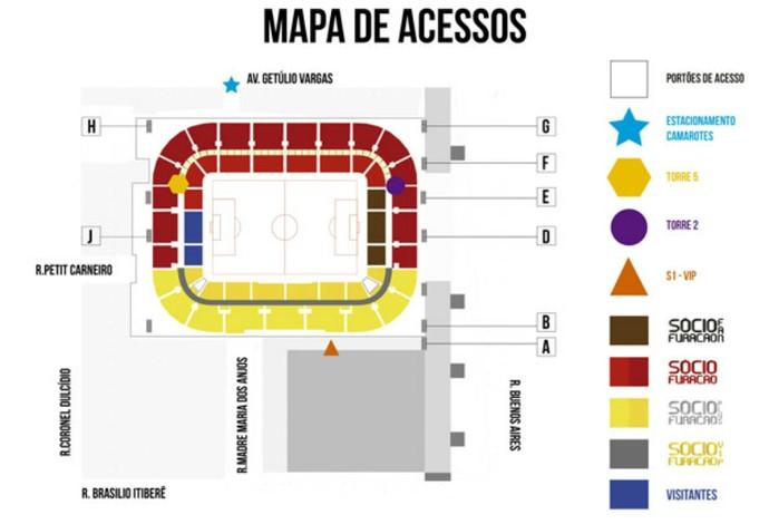 Atlético-PR Arena da Baixada setores (Foto: Site oficial do Atlético-PR/Divulgação)