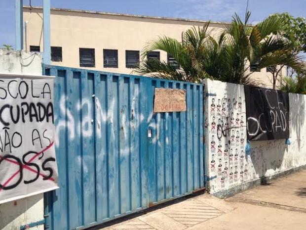 Alunos promovem ocupação no Colégio Estadual Professore José Carlos de Almeida, em Goiânia, Goiás (Foto: Vitor Santana/G1)