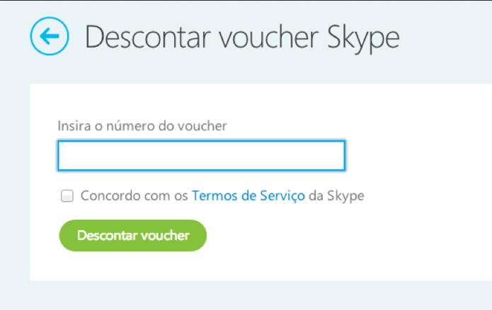 Como descontar um voucher do cartão pré-pago com créditos Skype (Foto: Reprodução/Skype)