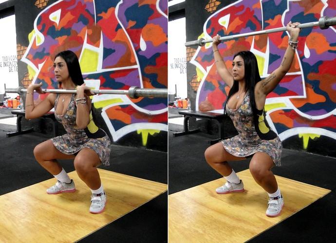 Amanda faz agachamento usando uma barra  (Foto: Vitor Moreno/Gshow)
