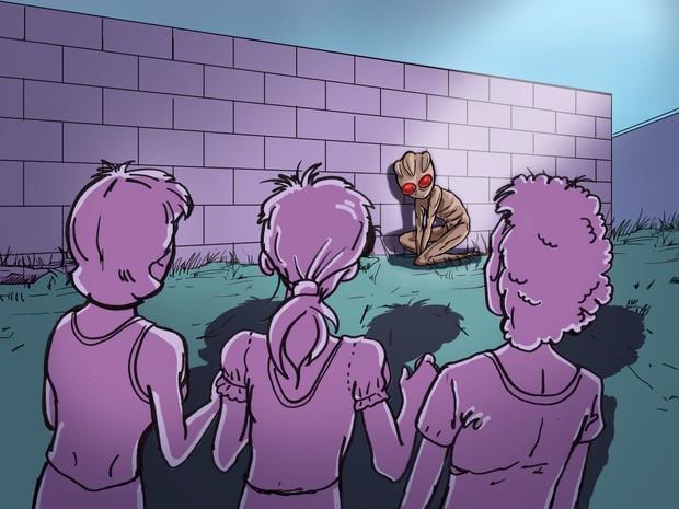 Ilustração meninas vêem ET de Varginha (Foto: Renato Munhoz / Computação Gráfica EPTV)