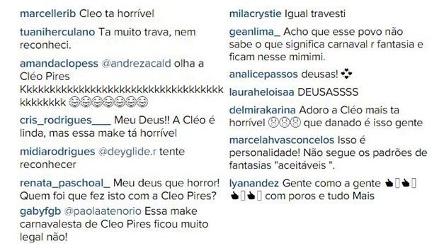 Comentários sobre make de Cléo Pires (Foto: EGO)