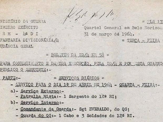 Ordem do golpe de 64 está disponível no site Brasil.doc  (Foto: Projeto República/Brasil Doc/Reprodução)