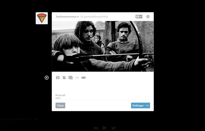 Plataforma permite compartilhar os GIFs adicionando textos, imagens e mais (Foto: Reprodução/Barbara Mannara)