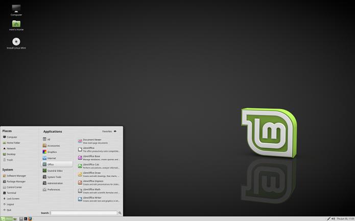 Linux Mint oferece um layout semelhante ao Windows (Foto: Divulgação/Linux Mint)