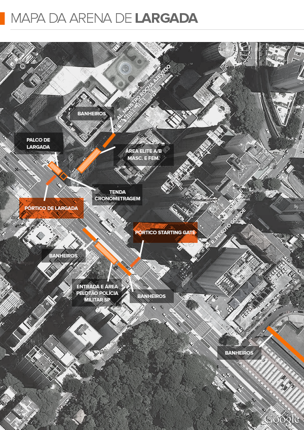euatleta info mapa largada São Silvestre (Foto: Editoria de Arte / GLOBOESPORTE.COM)