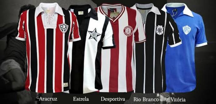 Camisas antigas de Aracruz, Estrela do Norte, Desportiva, Rio Branco-ES e Vitória-ES (Foto: Divulgação/Retromania)