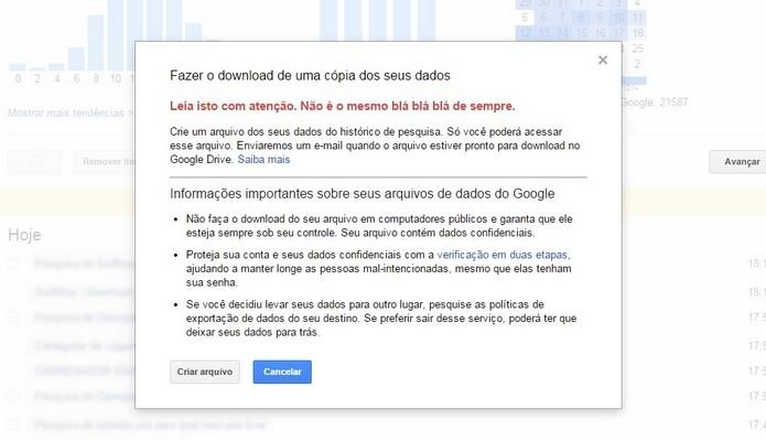 Alerta do Google sobre o download de cópia dos dados (Foto: Reprodução/ Raquel Freire)