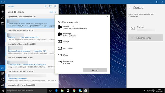 E-mail do Windows 10 pode ter contas de diferentes serviços conectadas (Foto: Reprodução/Elson de Souza)