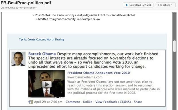 Facebook recomenda que os candidatos criem conteúdos que possam ser compartilhados (Foto: Reprodução)