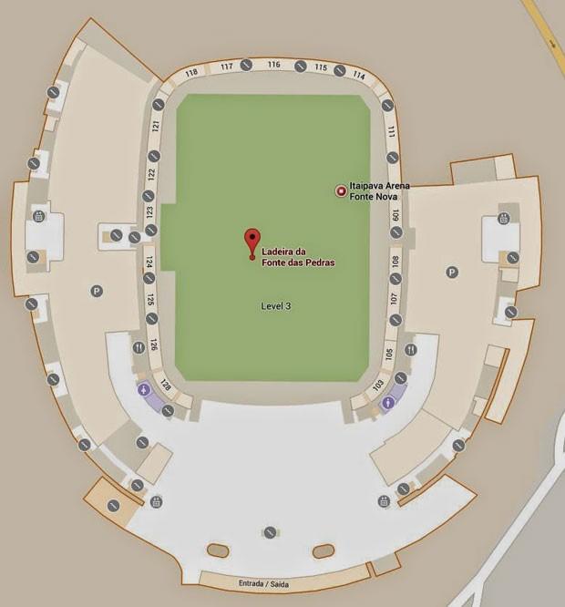 Planta baixa da Arena Fonte Nova, mostrada pelo serviço Google Indoor Maps. (Foto: Divulgação/Google)