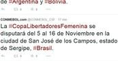 Conmebol erra estado de São José (Conmebol erra estado de S. José no Twitter (Conmebol erra Estado ao anunciar evento (Reprodução/Twitter)))