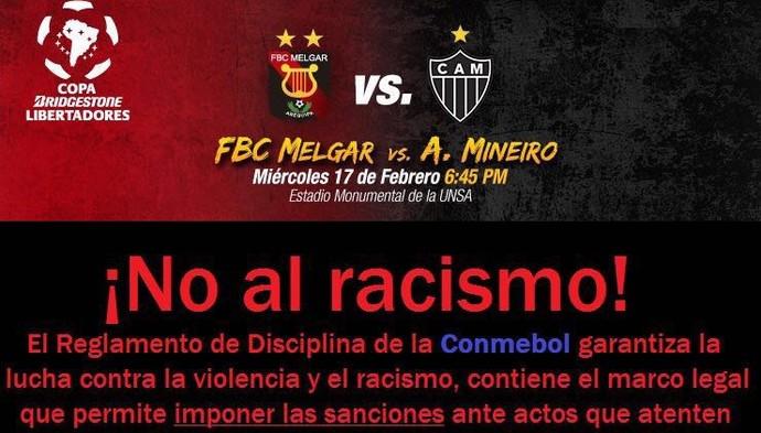 Melgar, adversário do Atlético-MG, faz campanha contra o racismo (Foto: Reprodução/Internet)