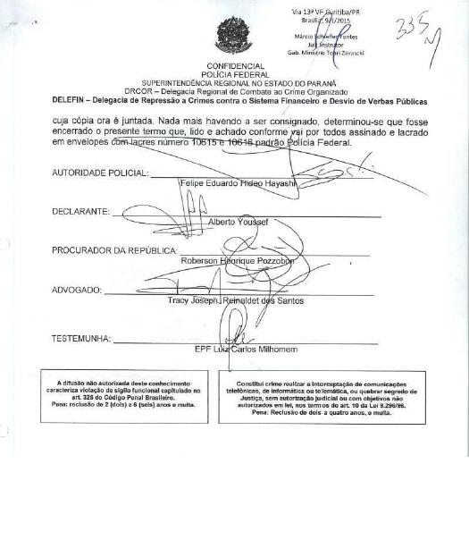Página de depoimento de Youssef à Polícia Federal (parte 3) (Foto: reprodução)