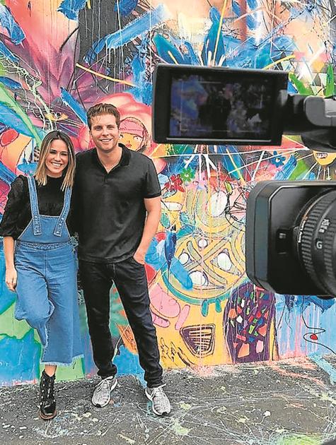 Thiago Fragoso gravou com Fernanda Pontes em Miami para o 'Planeta Brasil' (Foto: Divulgação)