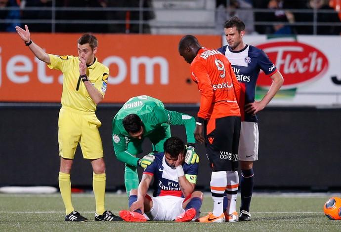 thiago silva paris saint germain  x lorient (Foto: Reuters)
