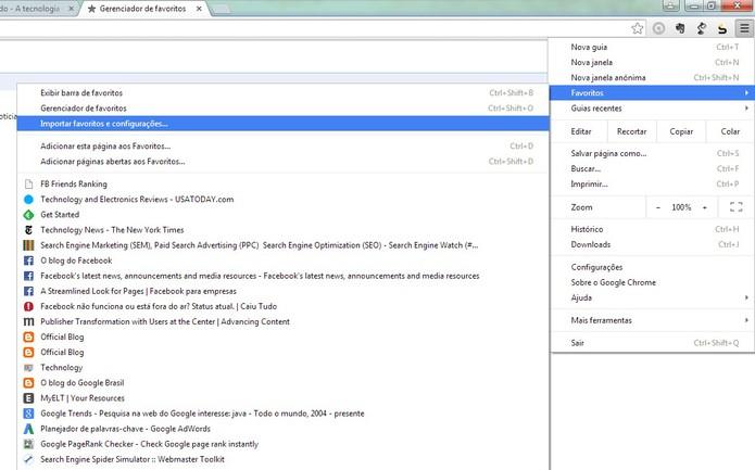 Para importar os favoritos para o Google Chrome acesse o menu de configuração no navegador (Foto: Reprodução/Barbara Mannara)