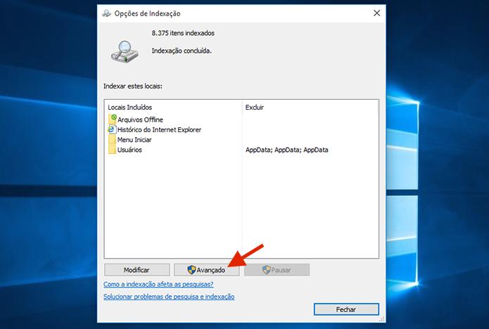 Acessando as ferramentas avançadas das opções de indexação do Windows 10 (Foto: Reprodução/Marvin Costa)