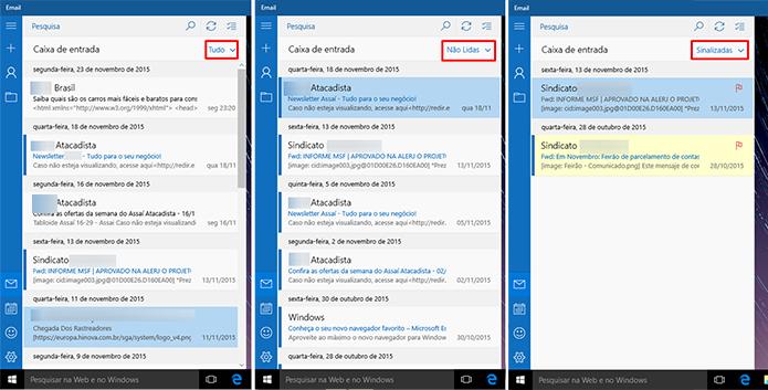 E-mail do Windows 10 pode ter mensagens filtradas na caixa de entrada (Foto: Reprodução/Elson de Souza)