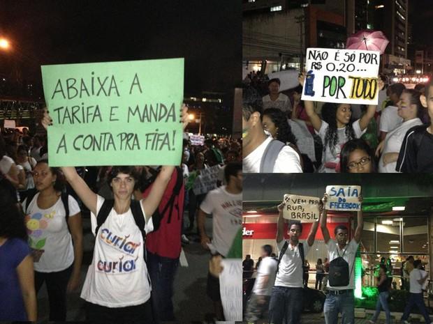 Jovem erguem cartazes em protesto, nesta segunda-feira (17), em Salvador (Foto: Jairo Gonçalves / Arquivo Pessoal)