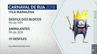 Blocos de rua da vila Madalena deverão sair entre 9h e 19h; dispersão será até 20h